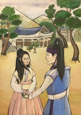 Иллюстрация к корейской  сказке «Любовь юноши Пэкуна и девушки Чжэху»