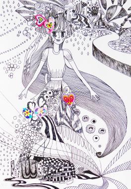 «Моя фантазия», б.,  гелевая ручка