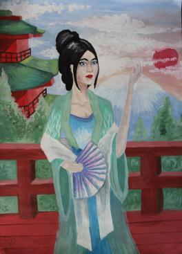 Автопортрет в японском костюме.