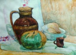 Натюрморт с хлебом и тыквой