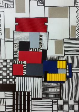 Завтрак Пита Мондриана. Абстрактный натюрморт с элементами бумагопластики.