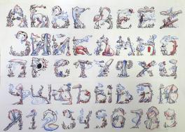 Авторский стиль:  Алфавит и цифры.