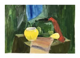 Натюрморт с зеленым чайником