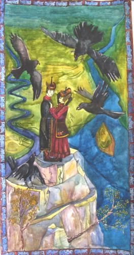 """Иллюстрация к легенде народов Алтая """"О ханской дочери Катынг и бедном пастухе Бие"""""""