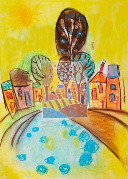 «Весна в городе», б., пастель