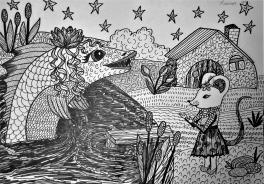 """""""Приходи к нам, тётя Щука"""", нашу детку покачать..."""" иллюстрация к сказке о глупом мышонке С. Маршака."""
