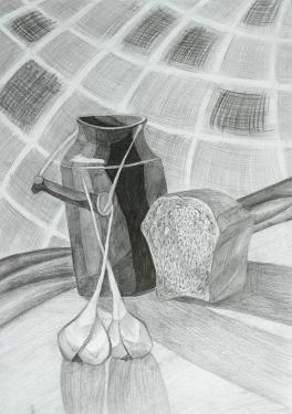 Натюрморт с хлебом и чесноком
