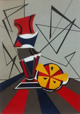 """""""Сочный апельсин"""". Абстрактный натюрморт с элементами бумагопластики."""