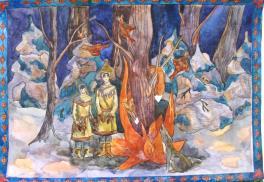 """Иллюстрация к Сойотской народной сказке """"Как лиса стала рыжей и маленькой"""""""