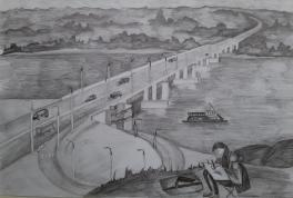 Вид на мост через реку Обь.