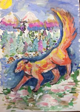 Красный волк на охоте