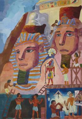 На строительстве пирамиды
