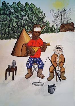 """Зимняя рыбалка с медведем"""