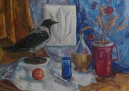 Натюрморт с чучелом вороны