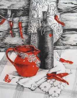 Натюрморт с красным кувшином