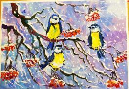 Синички на дереве