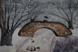 Парят снежинки        Густою пеленою.        Зимний орнамент.