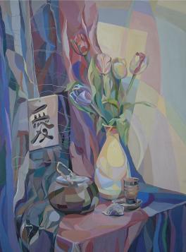 Стилизованный натюрморт с тюльпанами