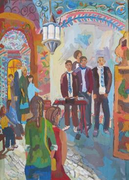 Выступление музыкального квартета в храме Василия Блаженного