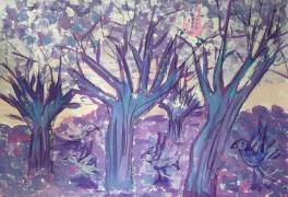 Сухие деревья.Утро