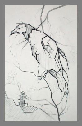 """""""На голой ветке .Ворон сидит одинокий.осенний ветер.."""""""