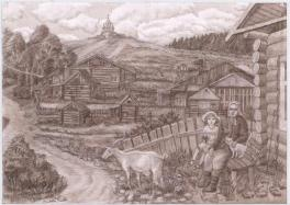 Пейзаж старой деревни