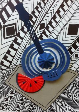 Банджо и арбуз. Абстрактный натюрморт с элементами бумагопластики.