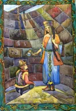 """Иллюстрация к Киргизской народной сказке """"Умный Ашик"""""""