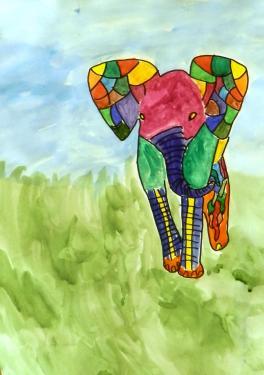 Витражный слон