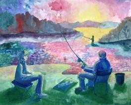 С отцом на рыбалке на реке Тогул