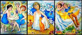 """Триптих """"Калейдоскоп воспоминаний"""" 1-Чаепитие на даче 2-Воспоминание о море 3- Почему люди не летают как птицы."""
