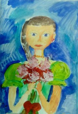Девочка с розами