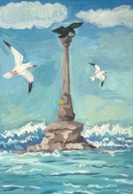 Памятник затонувшим кораблям в Севастополе.
