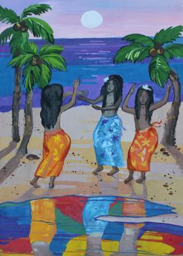 Танцующие таитянские девушки